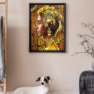 Black Women 40X50CM(Canvas) Full Round Drill Diamond Painting