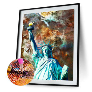 Statue Of Liberty 30X40CM(Canvas) Full Round Drill Diamond Painting