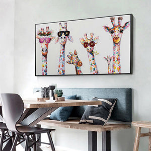 Funny Giraffe Color 85X45CM(Canvas) Full Round Drill Diamond Painting