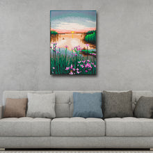 Load image into Gallery viewer, Sunset Lotus 25X30CM(Canvas) Full Round Drill Diamond Painting