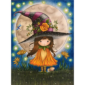 Little Witch Cat   30*40cm(canvas) full round drill diamond painting