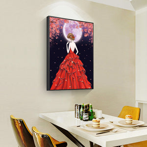Red Dress Girl Shaped 30*40cm(canvas) partial special shaped drill diamond painting