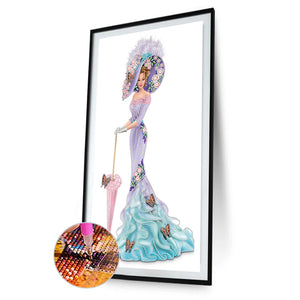 Dress Lady 30*60CM(Canvas) Partial Special Shaped Drill Diamond Painting