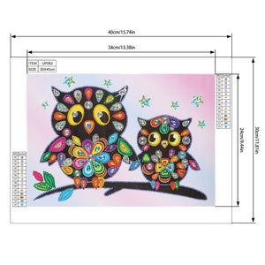 Cartoon Owl 40*30CM(Canvas) Beautiful Special Shaped Drill Diamond Painting