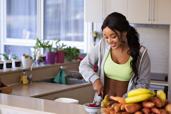 Woman preparing healthy food