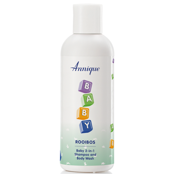 A bottle of Annique's Baby Rooibos 2-in-1 Shampoo and Body Wash