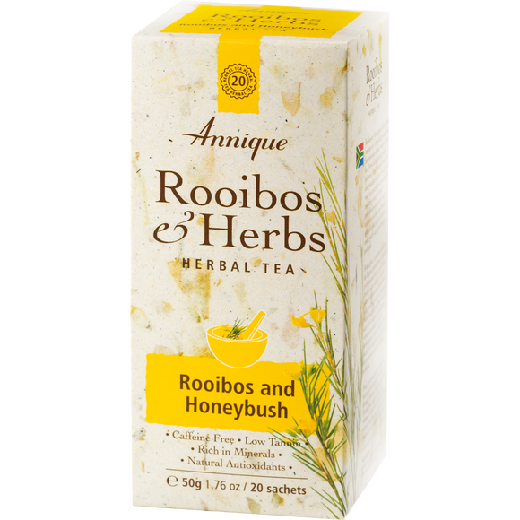 A box of Annique's Rooibos and Honeybush Tea