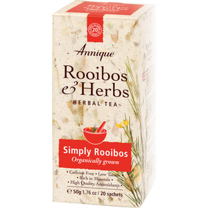 A box of Annique's Simply Rooibos Organic Tea