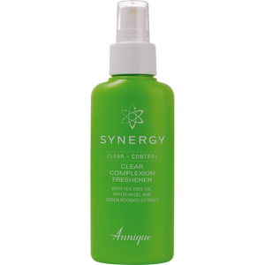 A bottle of Annique's Synergy Freshener with Rooibos for Oily Skin