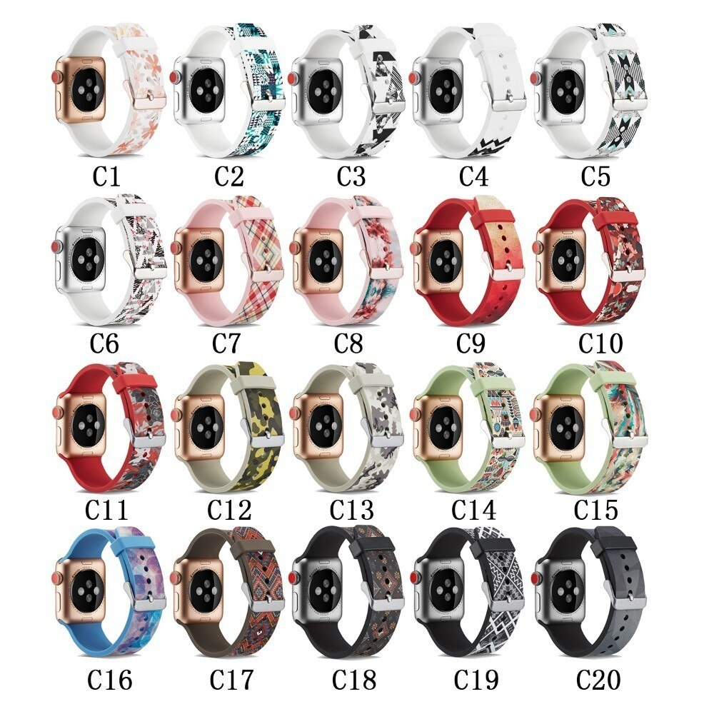 Strap for Apple watch 5 4 44mm 40mm band iwatch 42mm 38mm Printing Silicone watchband bracelet Apple watch 4 3 2 Accessories