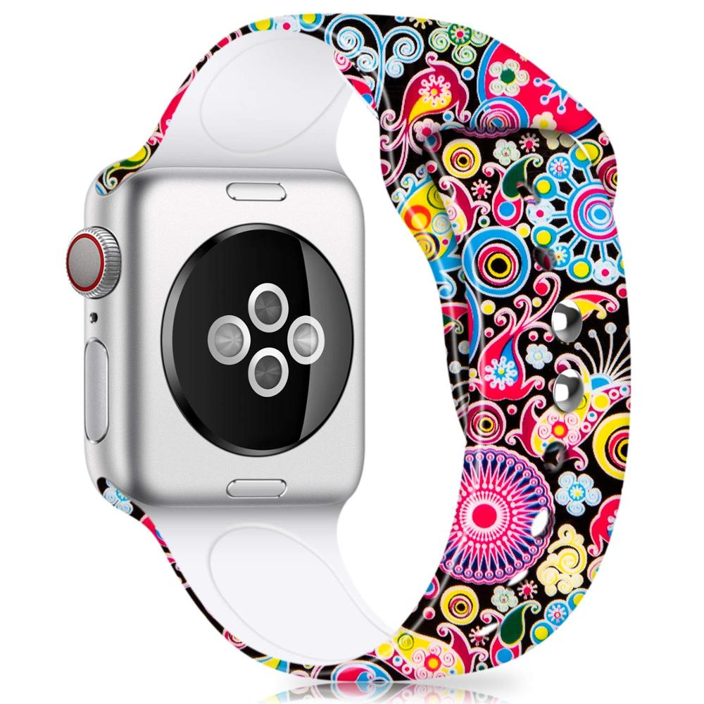 Printed Silicone Band for Apple Watch 38mm 42mm 40mm 44mm,Soft Silicone sport Strap Bands iWatch Series 5 4 3 2 bracelet