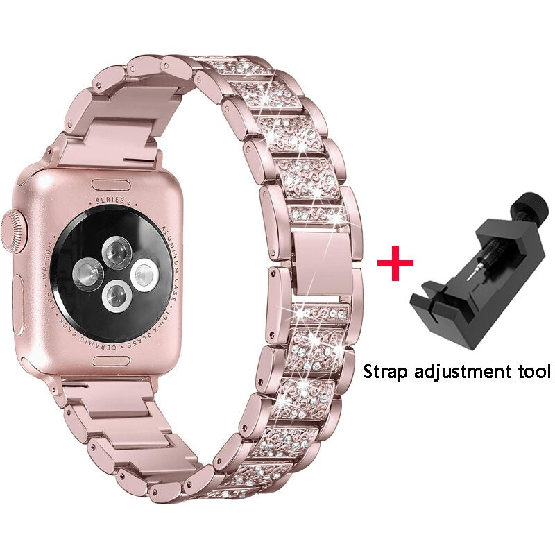 Diamond Band + case For Apple Watch 40mm 44mm 38mm 42mm iWatch series 5 4 3 2 1 bracelet apple watch stainless steel strap women