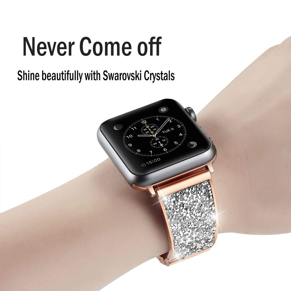 woman Diamond strap For Apple Watch Band 38mm 42mm 40mm 44mm iWatch Series 5 4 3 Stainless steel strap Apple Watch link Bracelet