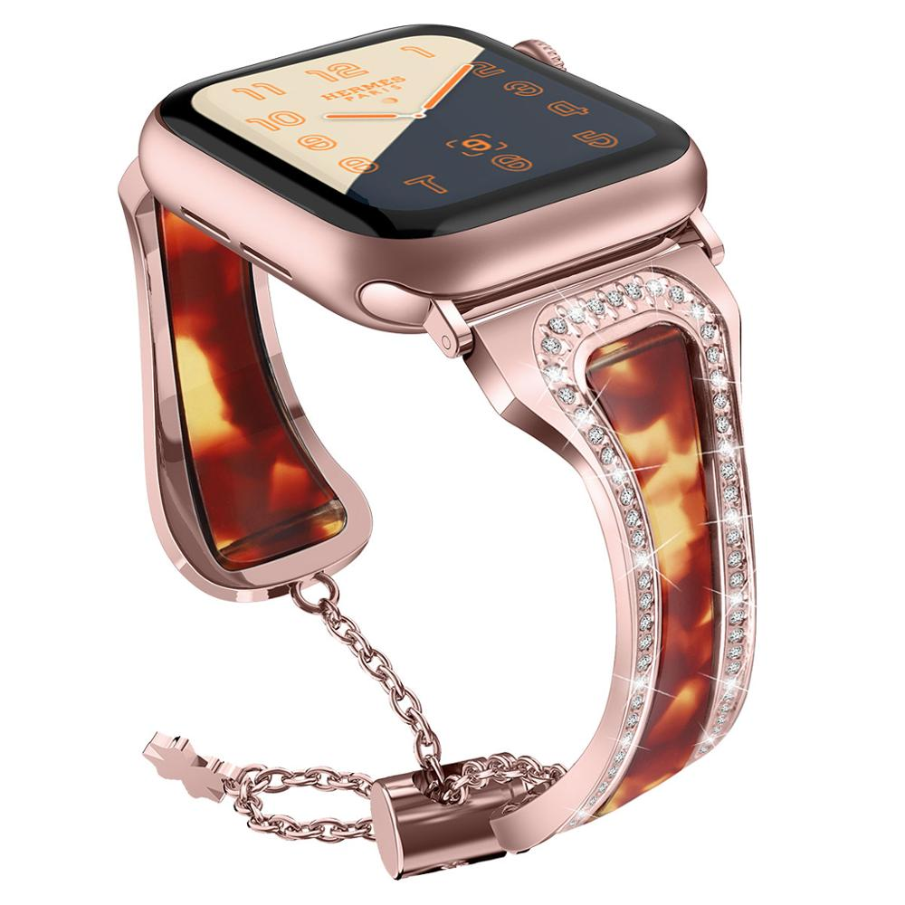 Stainless steel Band for Apple Watch 4 band 40mm 44 mm iWatch band 38mm 42mm Diamond Resin bracelet strap for Apple watch 3 2 1