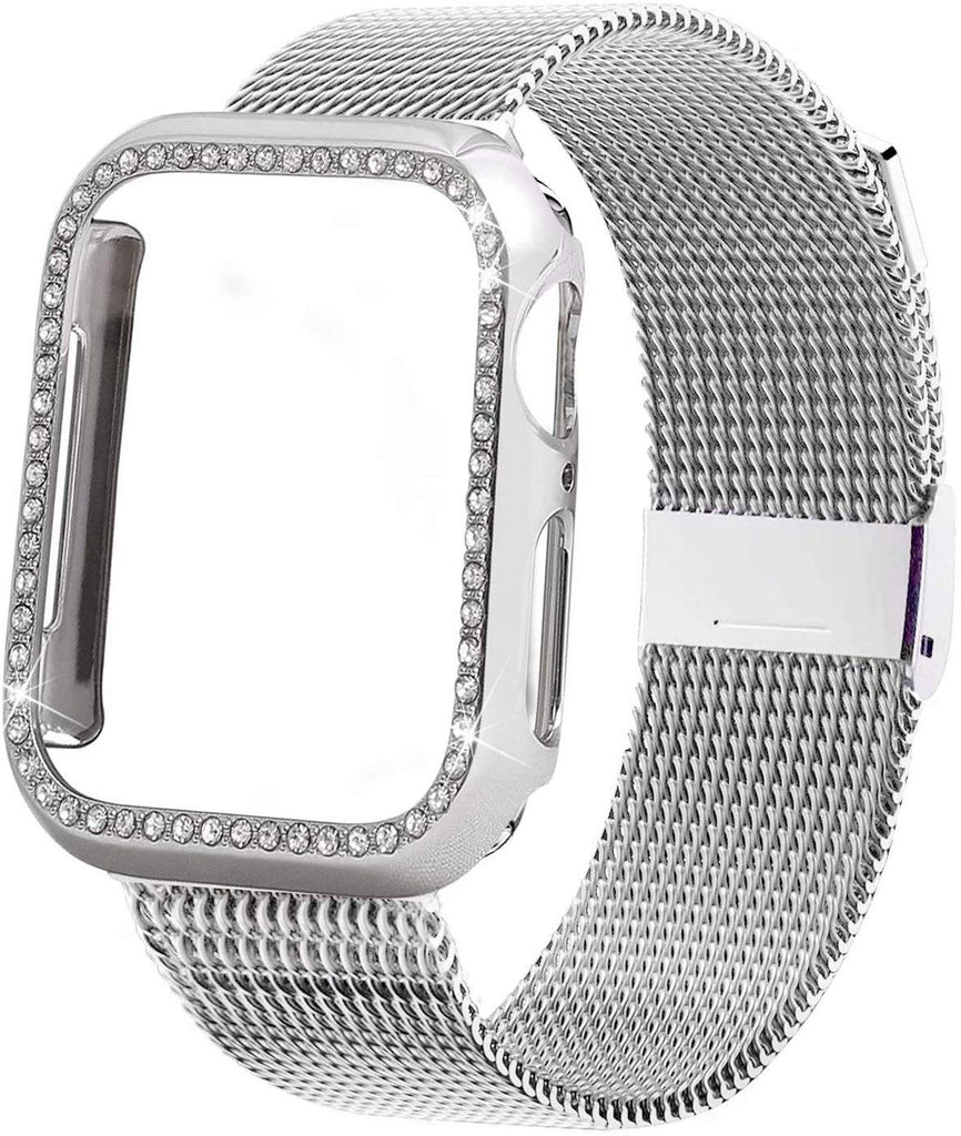 Diamond case+Milanese Loop band For Apple Watch Series 5/4/3/2/1 Stainless Steel Strap iwatch 38mm 42mm 40mm 44mm Wrist Bracelet