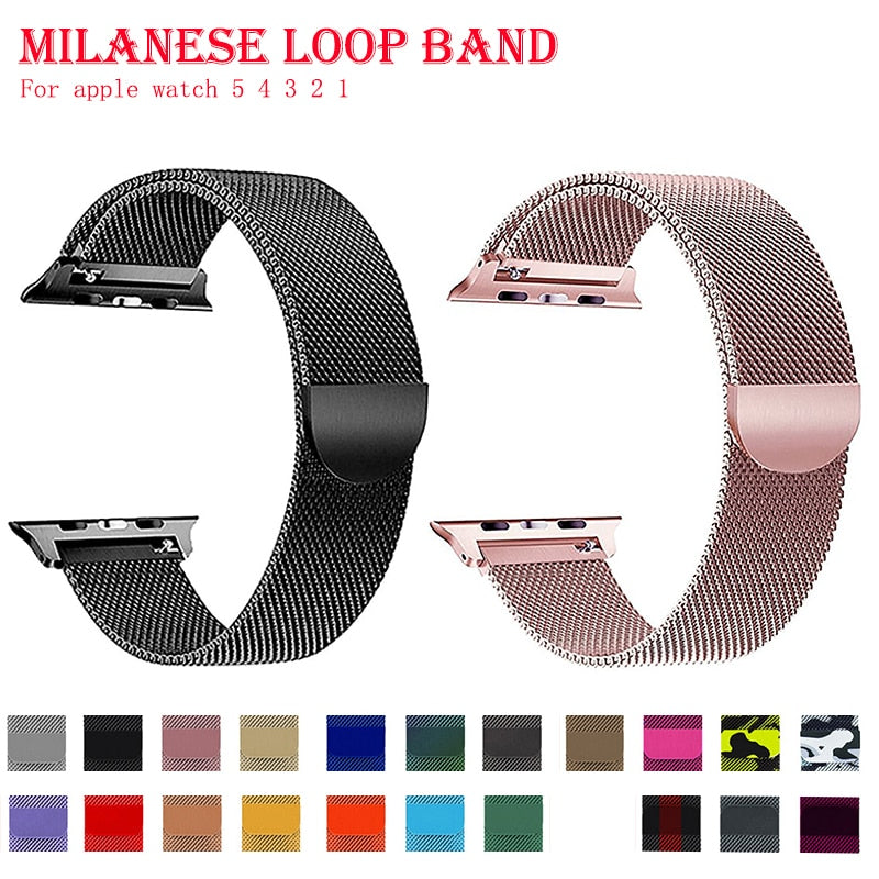 Band For Apple Watch 5 4 40MM 44MM Bracelet Stainless Steel Milanese Loop strap for iwatch series 3 2 38MM 42MM accessories