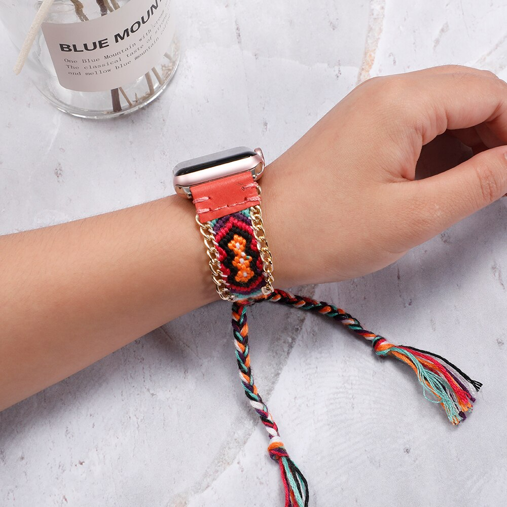 Nylon strap for apple watch 5 4 band 44mm 40mm iwatch band 42mm 38mm handmade colorful bracelet apple watch 4 3 5 2 Accessories