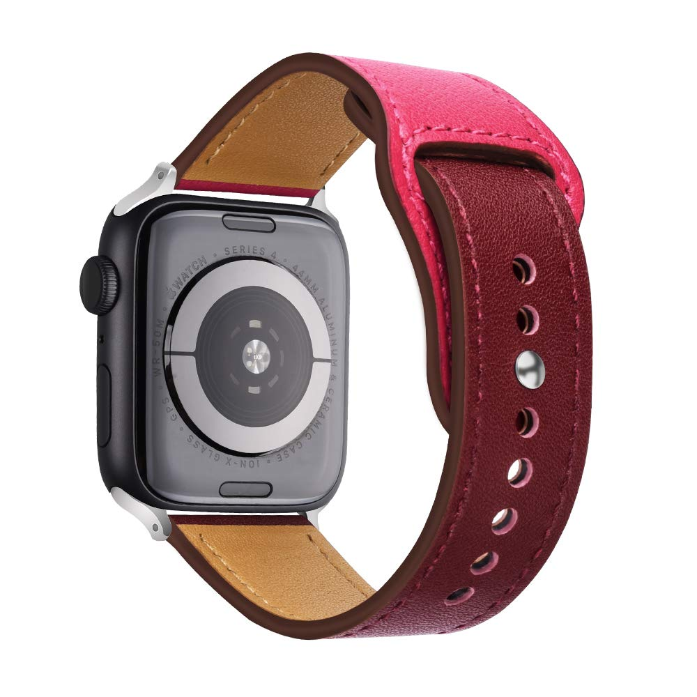 Double color leather band for apple watch series 5/4 3/2/1 Genuine leather Sports Strap for iWatch 38mm 42mm 40mm 44mm