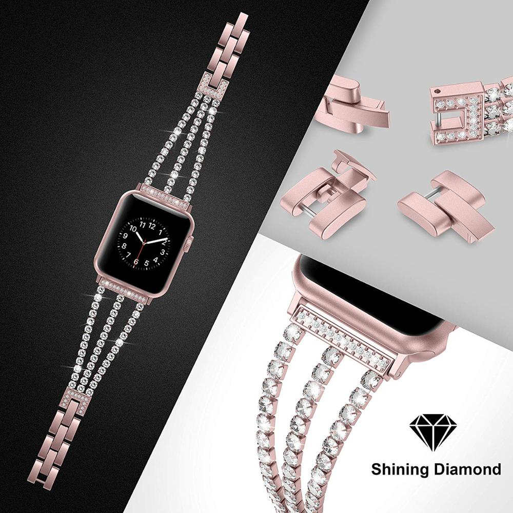 New Women Diamond Watch Band for Apple Watch 38mm 42mm 40mm 44mm iWatch Series 5 4 3 Stainless Steel strap Sport Bracelet