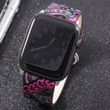 Band for apple watch 5 4/3/2/1 38MM 40MM Floral Paragraph Leather Replacement Strap for Apple iWatch Series 5 4/3/2/1 42 44MM