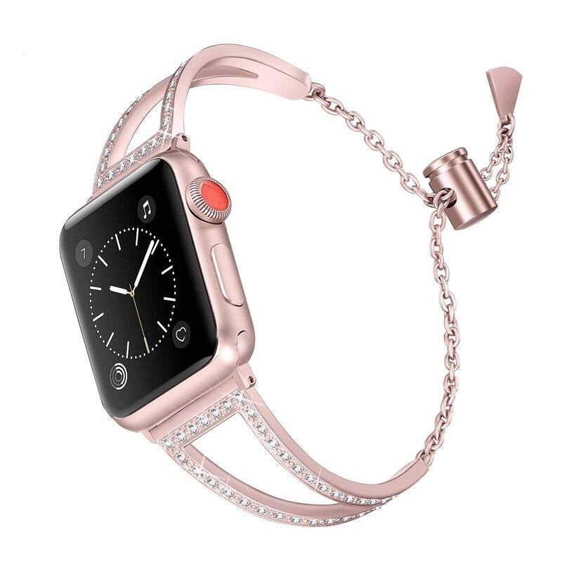 Diamond watch Bands For Apple Watch 38mm 42mm 40mm 44mm iwatch band Series 5 4 3 2 1 Stainless Steel strap Women Bracelet