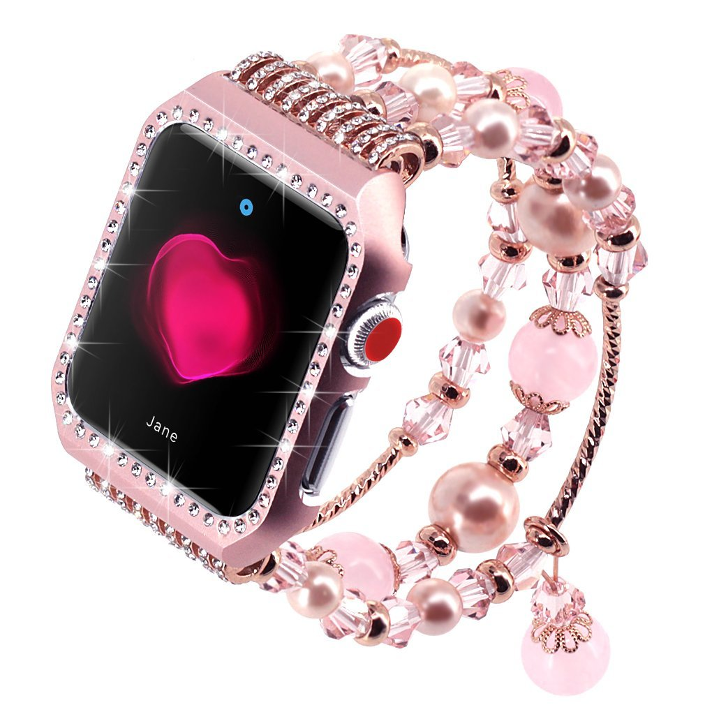 Metal Diamond Case+ band For Apple Watch Series 4 3 2 1 Bracelet Women Replacement watch strap for iWatch 38mm 42mm 40mm 44mm