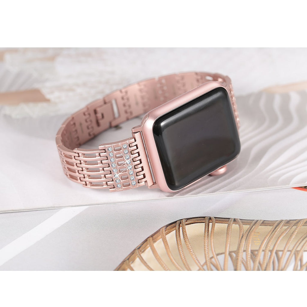 Diamond Stainless Steel strap for Apple Watch band 38mm 42mm 40mm 44mm bracelet women wristband for iWatch Series 5 4 3 2 1