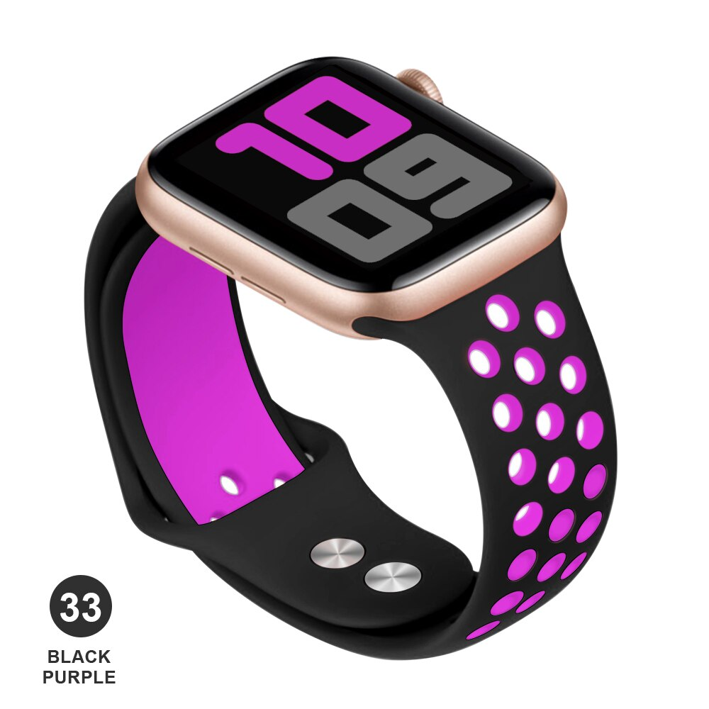Band for Apple Watch 5 4 3 2 1 42MM 38MM soft Breathable strap Silicone Sports bands for Nike+ Iwatch series 5 4 3 40mm 44mm