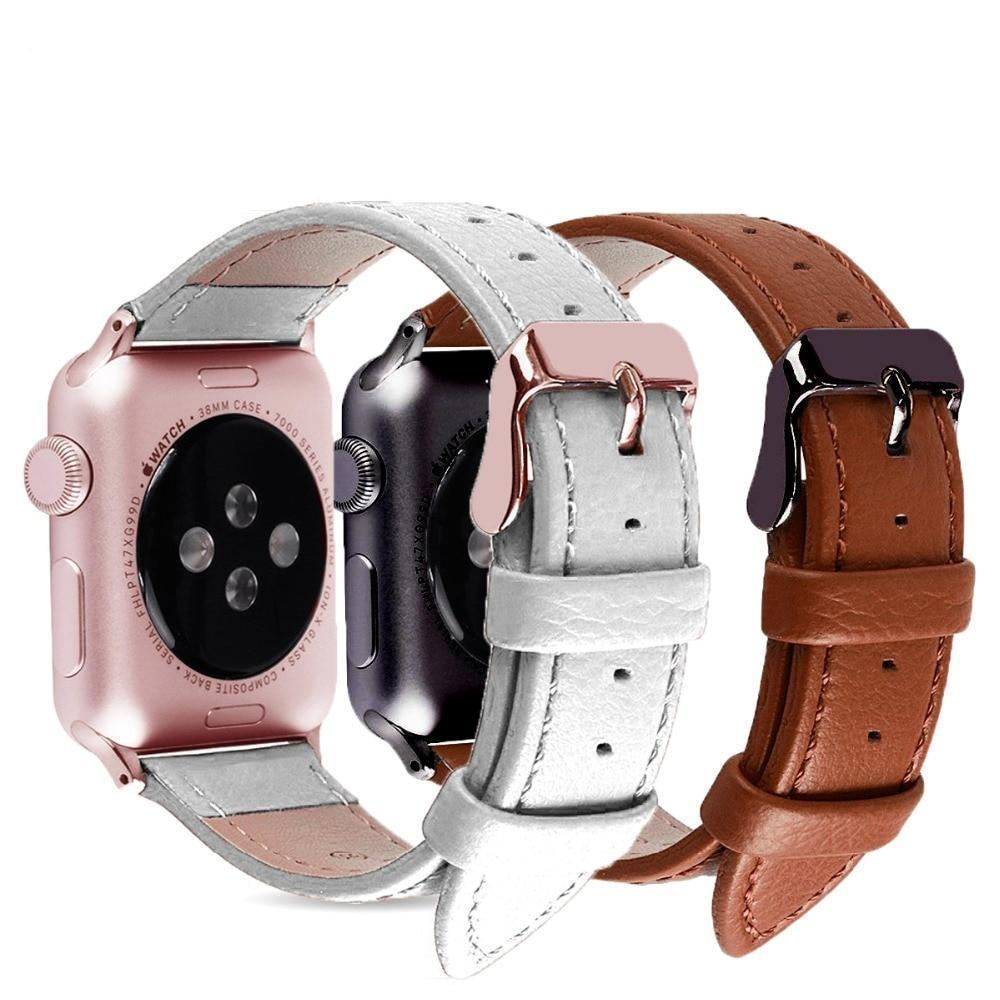 Accessories Apple Watch Series 5 4 3 2 Band, Best iWatch Genuine Leather simple Watchband, Rose Gold Adaptor connector & buckle for 38mm, 40mm, 42mm, 44mm
