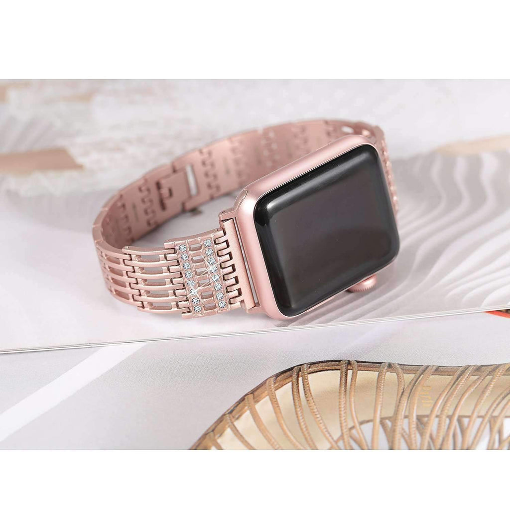 accessories Apple Watch Series 5 4 3 2 Band, Bling Stainless Steel Metal Watch band for Apple Watch band 38mm, 40mm, 42mm, 44mm