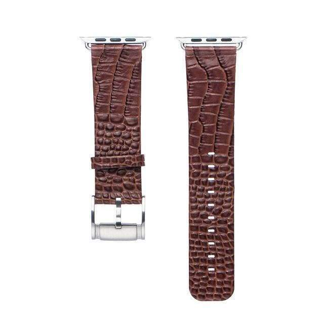 Accessories Apple Watch Series 5 4 3 2 Band, Crocodile Genuine Leather Strap for iWatch 38mm, 40mm, 42mm, 44mm