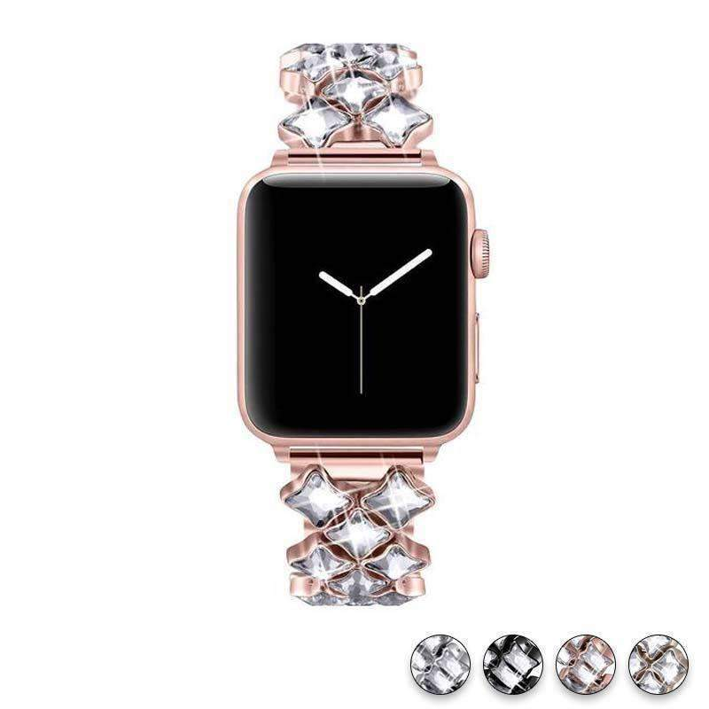 accessories Apple Watch Series 5 4 3 2 Band, Rose gold Bling Diamond Stainless Steel Strap 38mm, 40mm, 42mm, 44mm