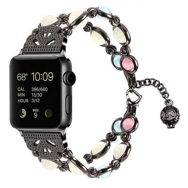 Accessories Black 3 / 38mm/40mm Apple watch cuff band,  Bling Luxury Crystal Diamond iWatch cuff bangle,  Stainless Steel, 44mm, 40mm, 42mm, 38mm, Series 1 2 3 4