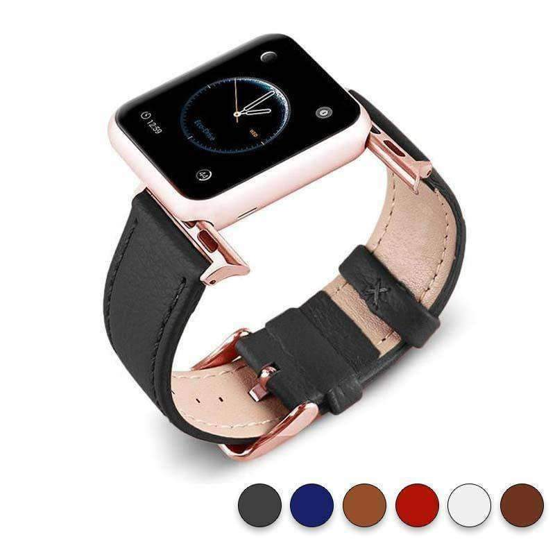 Accessories Black / 38mm/40mm Apple Watch Series 5 4 3 2 Band, Best iWatch Genuine Leather simple Watchband, Rose Gold Adaptor connector & buckle for 38mm, 40mm, 42mm, 44mm