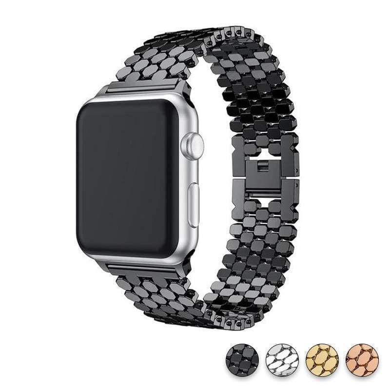Accessories Black / 38mm/40mm Apple Watch Series 5 4 3 2 Band, Hexagon Strap, Stainless Steel, iWatch, Watchbands, 38mm, 40mm, 42mm, 44mm -  US fast shipping