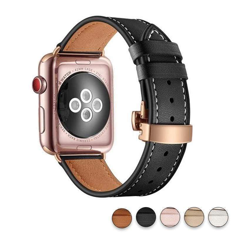 accessories Black / 38mm / 42mm Apple Watch Series 5 4 3 2 Band, Genuine Leather, Rose Gold Connectors & Buckle, fits Nike, hermes 38mm, 40mm, 42mm, 44mm - US Fast Shipping