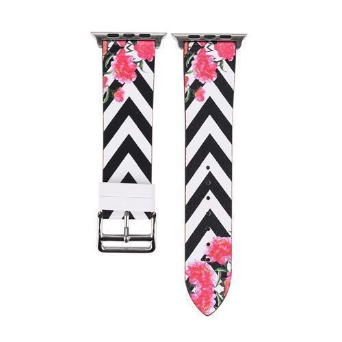 Accessories Black and White / 38mm/40mm Apple Watch band strap, flower floral design print, 44mm/ 40mm/ 42mm/ 38mm , Series 1 2 3 4