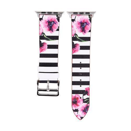 Accessories Black and White1 / 38mm/40mm Apple Watch band strap, flower floral design print, 44mm/ 40mm/ 42mm/ 38mm , Series 1 2 3 4