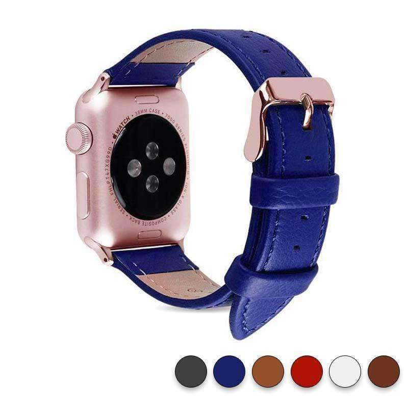 Accessories Blue / 38mm/40mm Apple Watch Series 5 4 3 2 Band, Best iWatch Genuine Leather simple Watchband, Rose Gold Adaptor connector & buckle for 38mm, 40mm, 42mm, 44mm