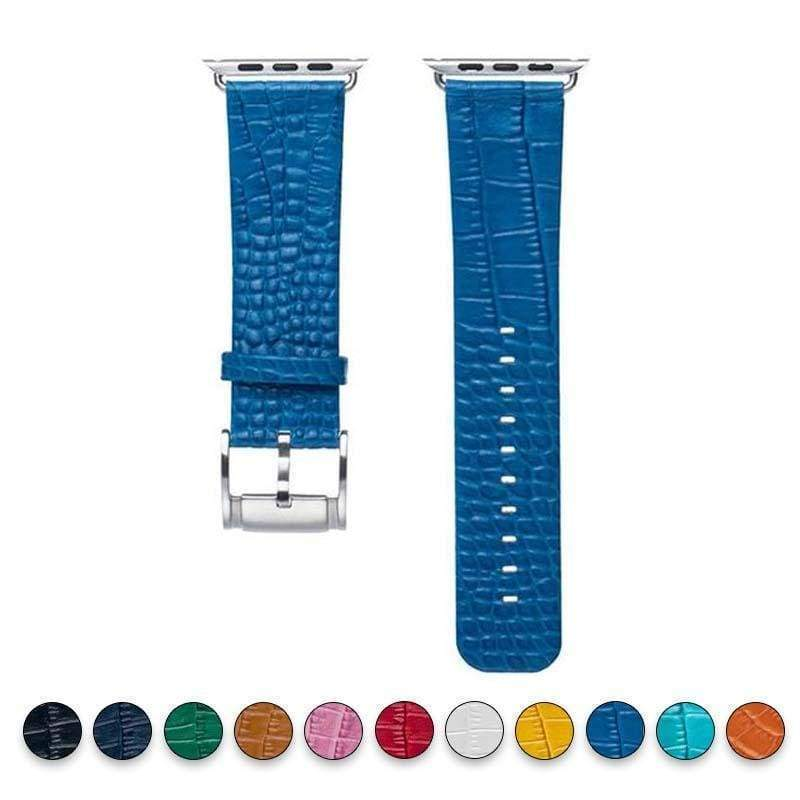 Accessories Blue / 38mm / 40mm Apple Watch Series 5 4 3 2 Band, Crocodile Genuine Leather Strap for iWatch 38mm, 40mm, 42mm, 44mm