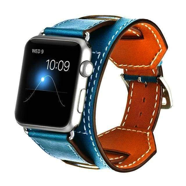 accessories Blue / 38mm / 40mm Apple Watch Series 5 4 3 2 Band, Leather Double Tour wrap Bracelet Strap Watchband fits 38mm, 40mm, 42mm, 44mm - US Fast Shipping