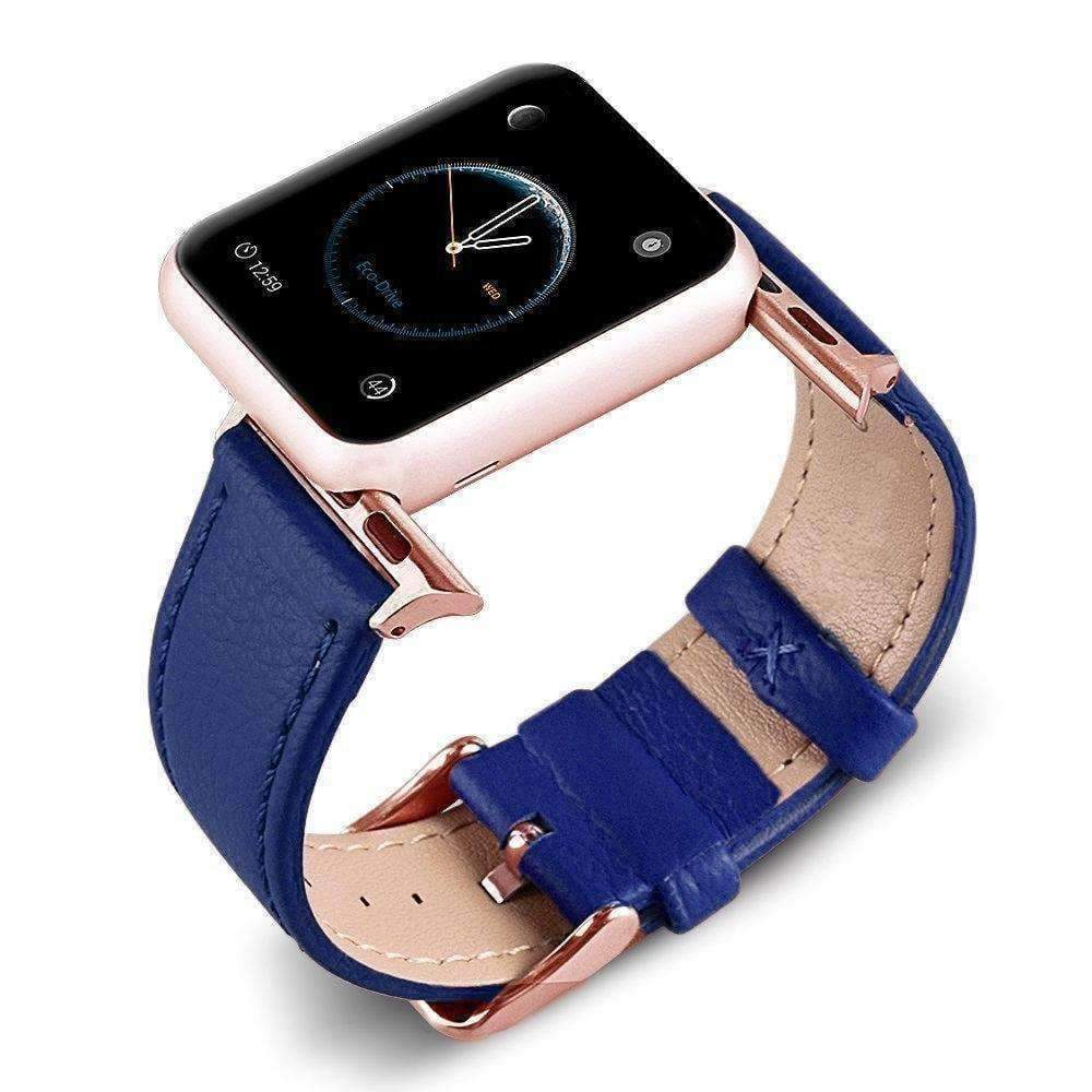 Accessories Blue / 42mm/44mm Apple Watch Series 5 4 3 2 Band, Best iWatch Genuine Leather simple Watchband, Rose Gold Adaptor connector & buckle for 38mm, 40mm, 42mm, 44mm