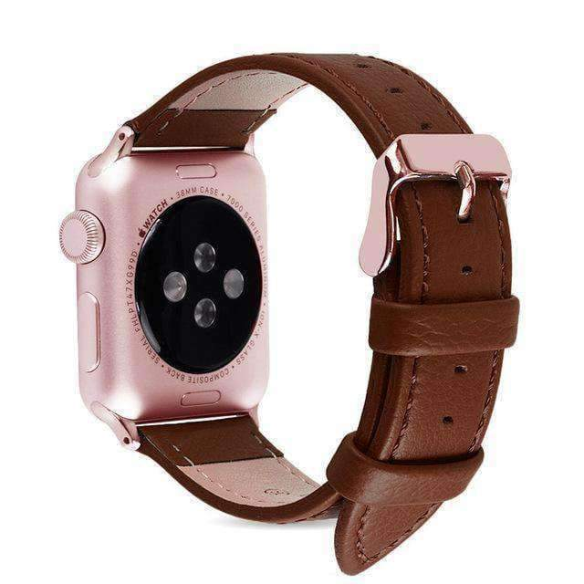 Accessories Brown / 38mm/40mm Apple Watch Series 5 4 3 2 Band, Best iWatch Genuine Leather simple Watchband, Rose Gold Adaptor connector & buckle for 38mm, 40mm, 42mm, 44mm