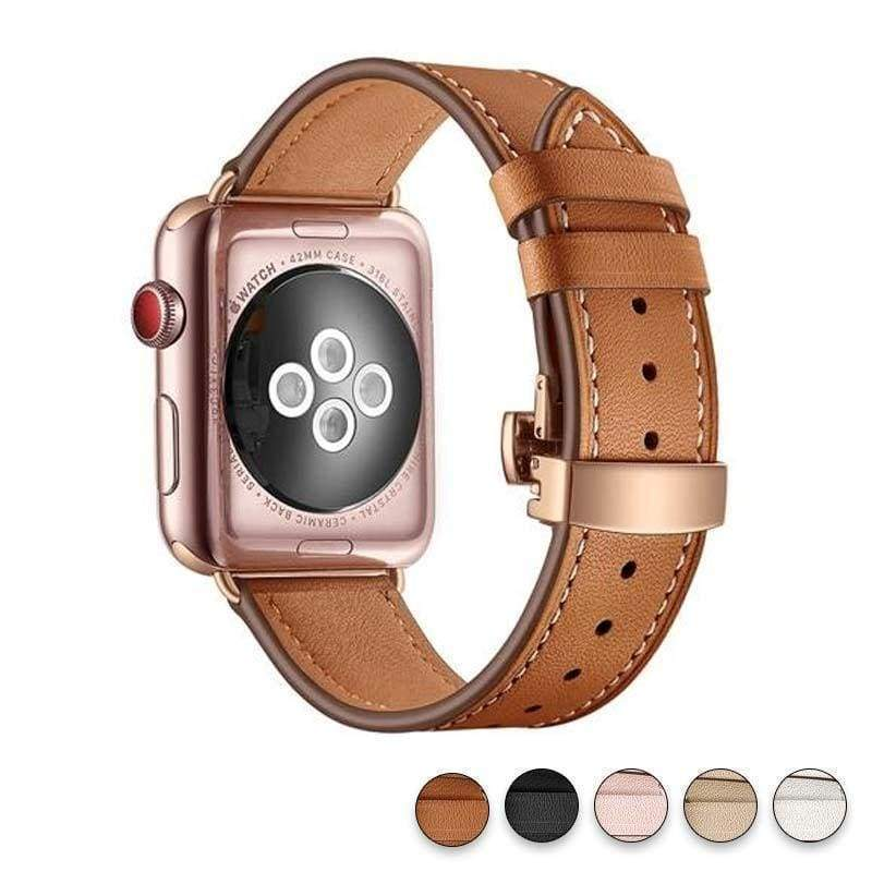 accessories Brown / 38mm / 42mm Apple Watch Series 5 4 3 2 Band, Genuine Leather, Rose Gold Connectors & Buckle, fits Nike, hermes 38mm, 40mm, 42mm, 44mm - US Fast Shipping