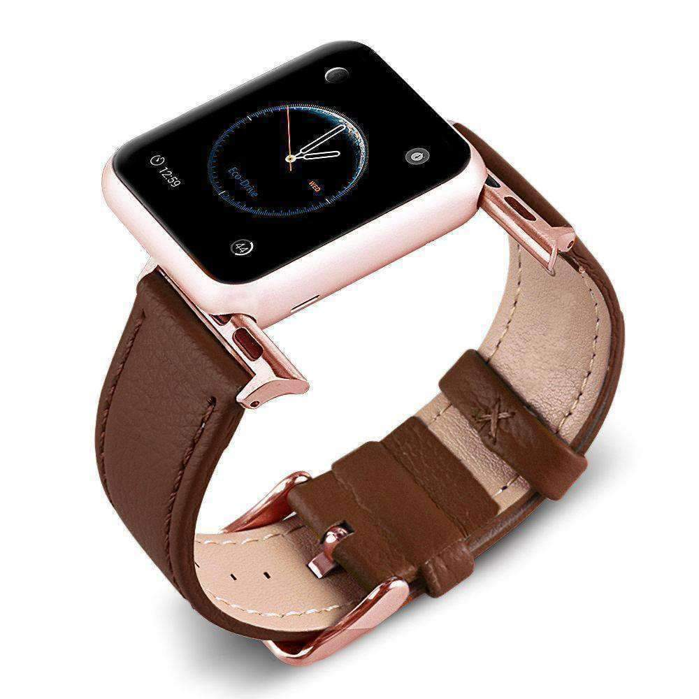 Accessories Brown / 42mm/44mm Apple Watch Series 5 4 3 2 Band, Best iWatch Genuine Leather simple Watchband, Rose Gold Adaptor connector & buckle for 38mm, 40mm, 42mm, 44mm
