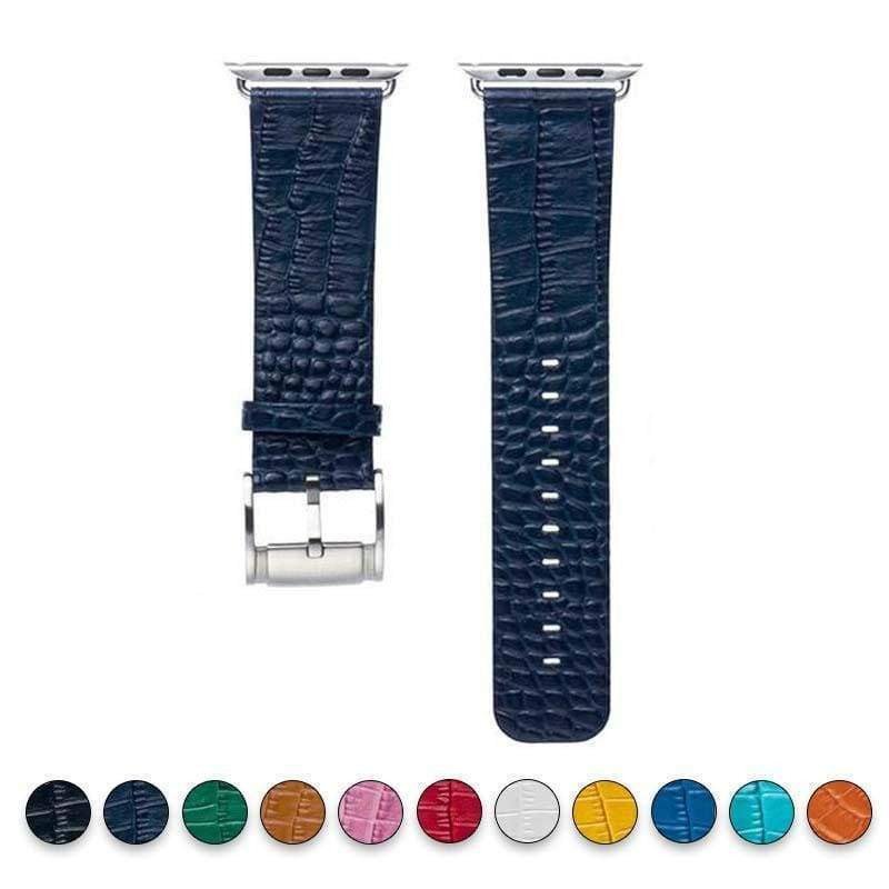 Accessories Dark Blue / 38mm / 40mm Apple Watch Series 5 4 3 2 Band, Crocodile Genuine Leather Strap for iWatch 38mm, 40mm, 42mm, 44mm