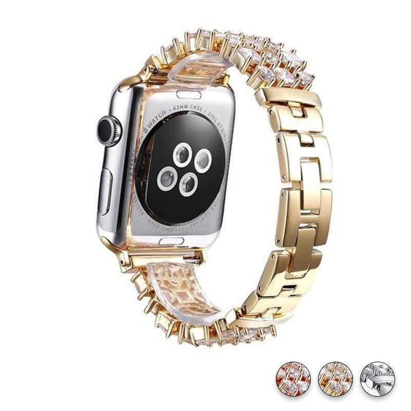 Accessories Gold / 38mm/40mm Apple Watch crystal band, Luxury Bling Diamond Bracelet,  Rhinestone Stainless Steel Strap 44mm/ 40mm/ 42mm/ 38mm, iWatch Series 1 2 3 4