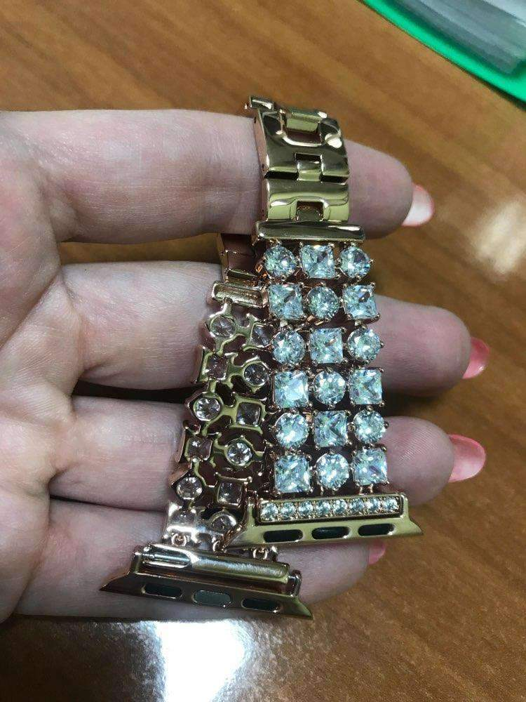 Accessories Gold / 42mm/44mm Apple Watch crystal band, Luxury Bling Diamond Bracelet,  Rhinestone Stainless Steel Strap 44mm/ 40mm/ 42mm/ 38mm, iWatch Series 1 2 3 4
