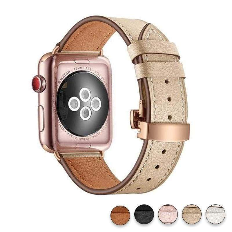accessories Khaki / 38mm / 42mm Apple Watch Series 5 4 3 2 Band, Genuine Leather, Rose Gold Connectors & Buckle, fits Nike, hermes 38mm, 40mm, 42mm, 44mm - US Fast Shipping