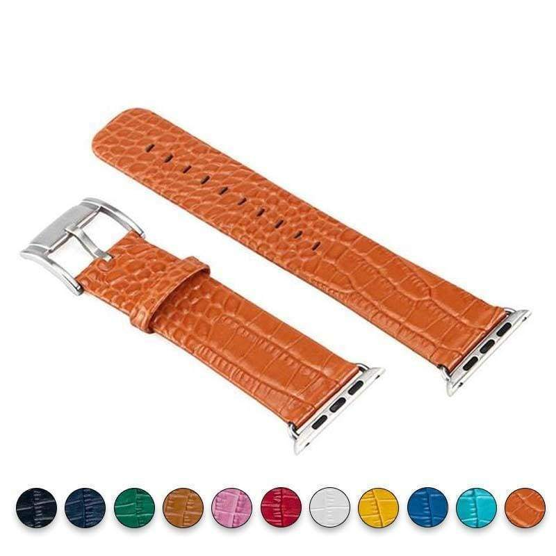 Accessories Orange / 38mm / 40mm Apple Watch Series 5 4 3 2 Band, Crocodile Genuine Leather Strap for iWatch 38mm, 40mm, 42mm, 44mm